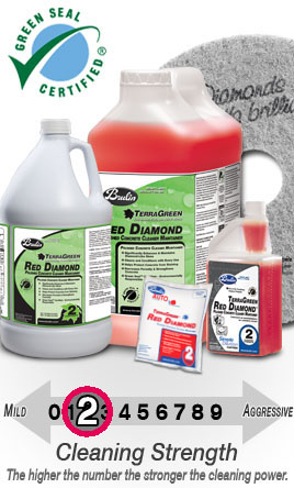 Terragreen red diamond the kings of concrete polishing for Polished concrete cleaning products